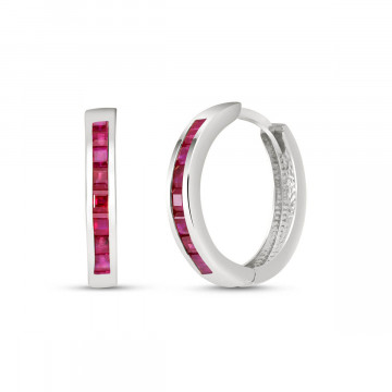 Ruby Huggie Earrings 1.85 ctw in 9ct White Gold