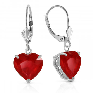 Ruby Large Heart Earrings 8.6 ctw in 9ct White Gold