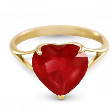 Ruby Large Heart Ring 4.3 ct in 9ct Gold