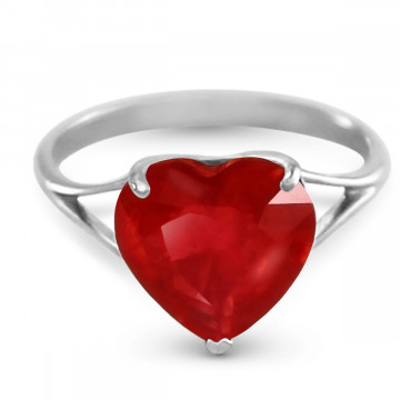 Ruby Large Heart Ring 4.3 ct in 9ct White Gold