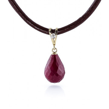 Ruby Leather Pendant Necklace 15.51 ctw in 9ct Gold