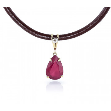 Ruby Leather Pendant Necklace 5.01 ctw in 9ct Gold