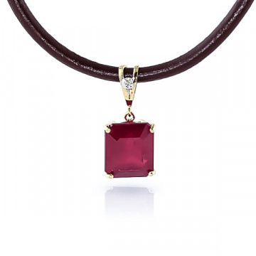 Ruby Leather Pendant Necklace 6.51 ctw in 9ct Gold