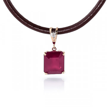 Ruby Leather Pendant Necklace 6.51 ctw in 9ct Rose Gold