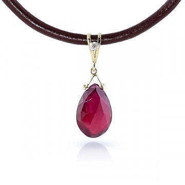 Ruby Leather Pendant Necklace 8.01 ctw in 9ct Gold