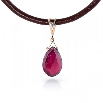Ruby Leather Pendant Necklace 8.01 ctw in 9ct Rose Gold