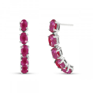Ruby Linear Stud Earrings 2.5 ctw in 9ct White Gold