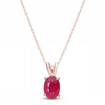 Ruby Oval Pendant Necklace 1 ct in 9ct Rose Gold