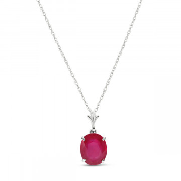 Ruby Oval Pendant Necklace 3.5 ct in 9ct White Gold