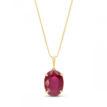 Ruby Oval Pendant Necklace 7.7 ct in 9ct Gold