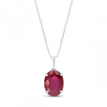 Ruby Oval Pendant Necklace 7.7 ct in 9ct White Gold