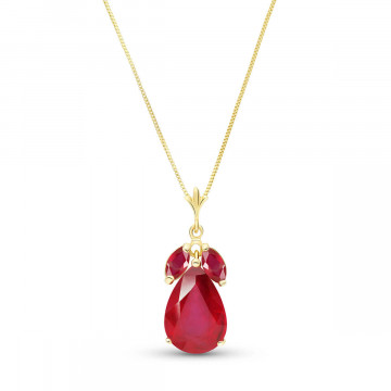 Ruby Pear Drop Pendant Necklace 5.5 ctw in 9ct Gold