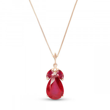 Ruby Pear Drop Pendant Necklace 5.5 ctw in 9ct Rose Gold