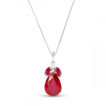Ruby Pear Drop Pendant Necklace 5.5 ctw in 9ct White Gold