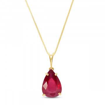 Ruby Pear Drop Pendant Necklace 5 ct in 9ct Gold