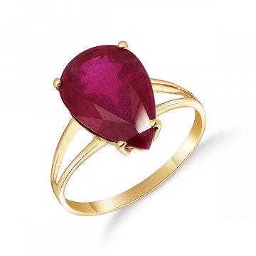 Ruby Pear Drop Ring 5 ct in 9ct Gold