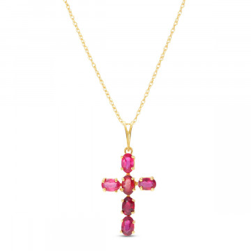 Ruby Rio Cross Pendant Necklace 1.5 ctw in 9ct Gold
