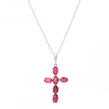 Ruby Rio Cross Pendant Necklace 1.5 ctw in 9ct White Gold