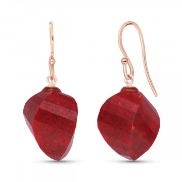 Ruby Spiral Briolette Drop Earrings 30.5 ctw in 9ct Rose Gold