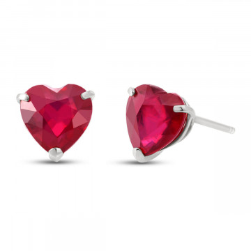 Ruby Stud Earrings 2.9 ctw in 9ct White Gold