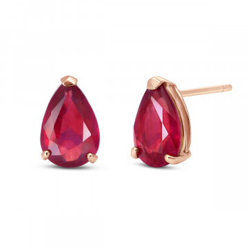 Ruby Stud Earrings 3.5 ctw in 9ct Rose Gold