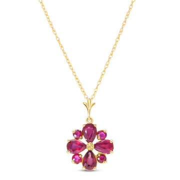 Ruby Sunflower Pendant Necklace 2.23 ctw in 9ct Gold