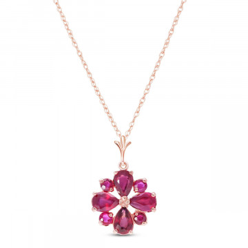 Ruby Sunflower Pendant Necklace 2.23 ctw in 9ct Rose Gold