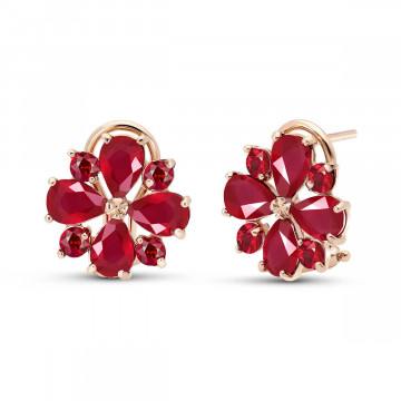 Ruby Sunflower Stud Earrings 4.85 ctw in 9ct Rose Gold