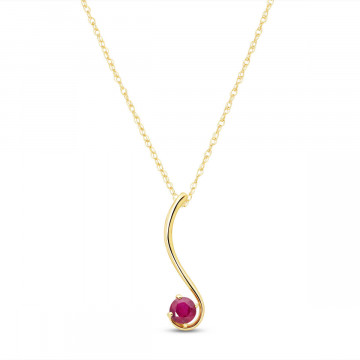 Ruby Swish Pendant Necklace 0.55 ct in 9ct Gold