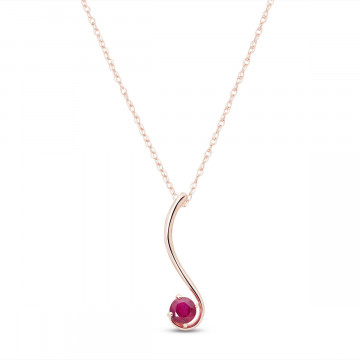 Ruby Swish Pendant Necklace 0.55 ct in 9ct Rose Gold