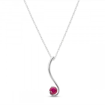Ruby Swish Pendant Necklace 0.55 ct in 9ct White Gold