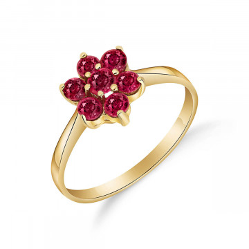 Ruby Wildflower Cluster Ring 0.66 ctw in 9ct Gold