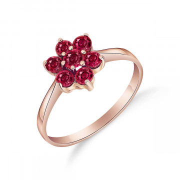 Ruby Wildflower Cluster Ring 0.66 ctw in 9ct Rose Gold