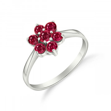 Ruby Wildflower Cluster Ring 0.66 ctw in 9ct White Gold