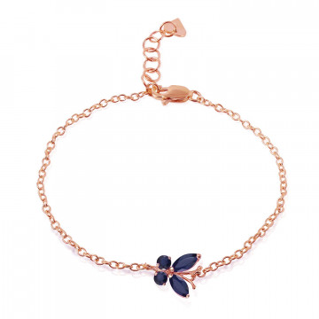 Sapphire Adjustable Butterfly Bracelet 0.6 ctw in 9ct Rose Gold
