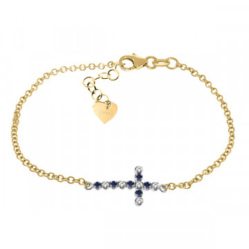Sapphire Adjustable Cross Bracelet 0.24 ctw in 9ct Gold