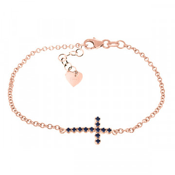 Sapphire Adjustable Cross Bracelet 0.3 ctw in 9ct Rose Gold