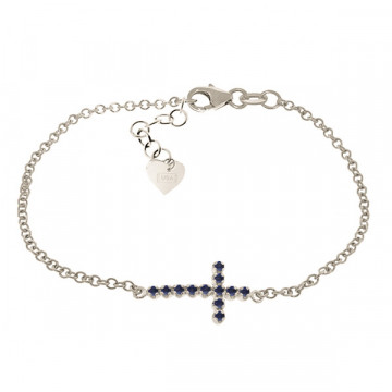 Sapphire Adjustable Cross Bracelet 0.3 ctw in 9ct White Gold