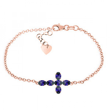 Sapphire Adjustable Cross Bracelet 1.7 ctw in 9ct Rose Gold