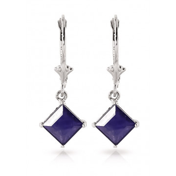 Sapphire Alexandra Drop Earrings 2.9 ctw in 9ct White Gold