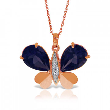 Sapphire & Diamond Butterfly Pendant Necklace in 9ct Rose Gold
