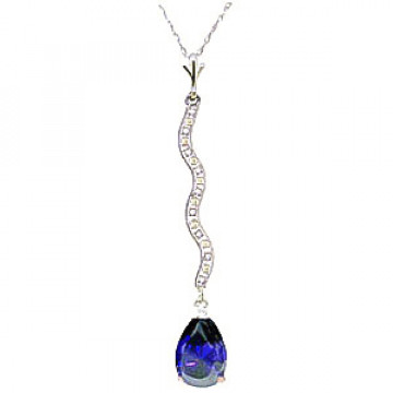 Sapphire & Diamond Cannes Pendant Necklace in 9ct White Gold