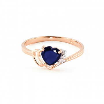 Sapphire & Diamond Devotion Ring in 9ct Rose Gold
