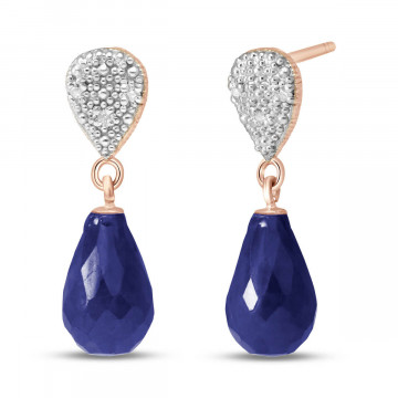 Sapphire & Diamond Droplet Earrings in 9ct Rose Gold