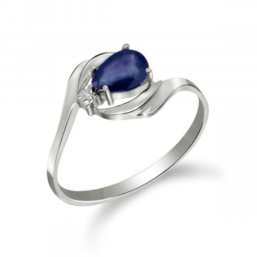 Sapphire & Diamond Flare Ring in 9ct White Gold