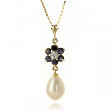 Sapphire & Diamond Flower Pendant Necklace in 9ct Gold