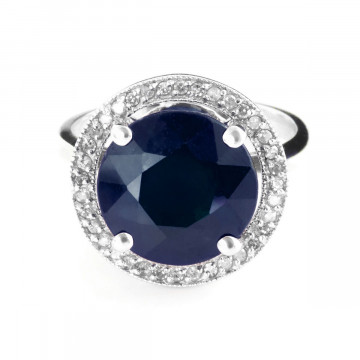 Sapphire & Diamond Halo Ring in 9ct White Gold