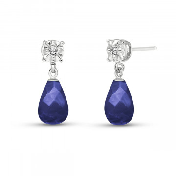 Sapphire & Diamond Illusion Stud Earrings in 9ct White Gold
