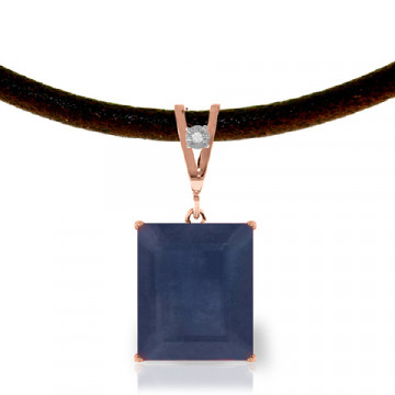 Sapphire & Diamond Leather Pendant Necklace in 9ct Rose Gold