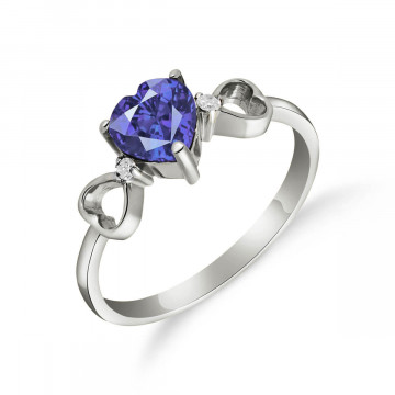 Sapphire & Diamond Trinity Ring in 9ct White Gold